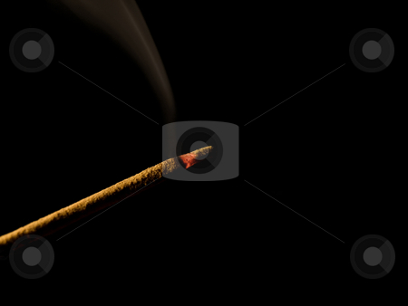 Incense stick stock photo, Closeup of an incense stick isolated on black by Vladimir Koletic