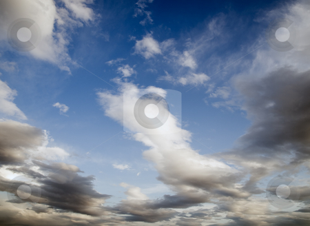 Clouds under the blue sky stock photo, Broken clouds shortly after the storm by Vladimir Koletic