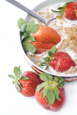 Morning breakfast stock photo, Bowl of cereal with milk and strawberrys by Paulo Resende