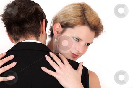 Embrace stock photo, Attractive couple and their hug isolated on white background by Tom P.