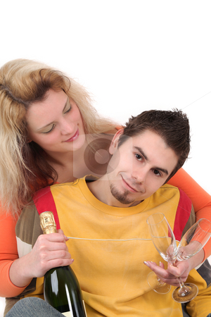 Together stock photo, Young couple prepares for celebration - with copy space by Tom P.