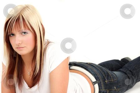 Looking stock photo, Beautiful blonde teenage girl with cute eyes by Tom P.