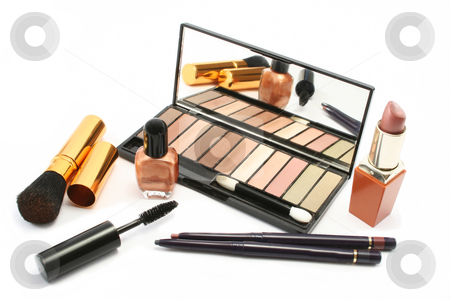 Cosmetic Still Life stock photo, Various cosmetics in a group display by Helen Shorey