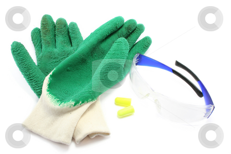 Protective Workwear stock photo, Rubberised gloves, earplugs and safety glasses. Colourful and sensible by Helen Shorey