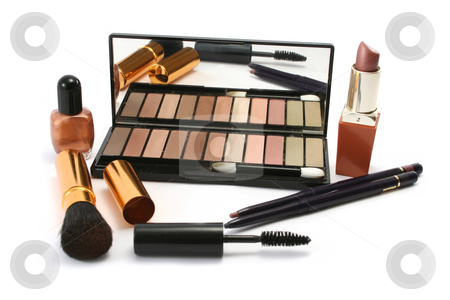 Selection of Cosmetics stock photo, Various cosmetics in earthy, autumnal colours by Helen Shorey