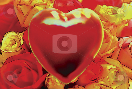 Red Hot Love stock photo, Red Heart over Field of Roses by Miguel Dominguez