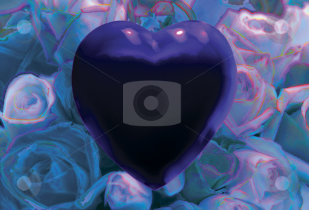 Love is Blue stock photo, Blue Heart over Field of Blue Roses by Miguel Dominguez