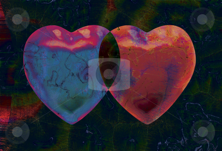 2 Hearts stock photo, 2 Hearts on Black Background by Miguel Dominguez