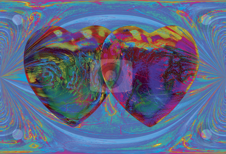 Electric Love stock photo, 2 Hearts over blue electric field by Miguel Dominguez