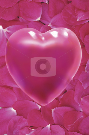 Plastic Love stock photo, Pink Heart over Field of Rose Petals by Miguel Dominguez
