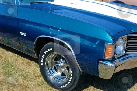 72 Chevelle SS Front Corner Blue stock photo, This is a crisp clean Chevelle SS. by Joe Shortridge
