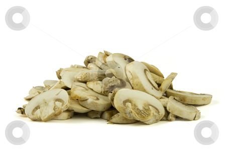 Sliced champignon mushrooms stock photo, A pile of sliced champignon mushrooms isolated on white background. by Gert-Jan Kappert