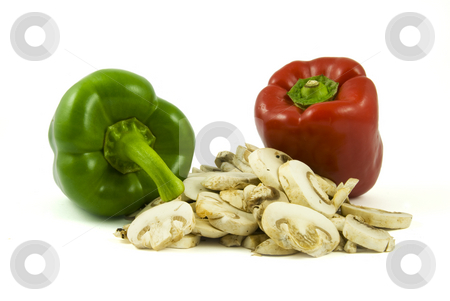 Two bell peppers and sliced champignon mushrooms stock photo, Two bell peppers and sliced champignon mushrooms isolated on white background by Gert-Jan Kappert