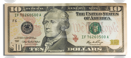 10 dollar ten stock photo, Close up of a bank note of ten north american dollars by Ivan Montero