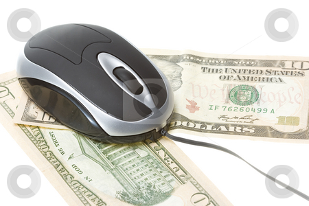 Computer technology mouse stock photo, Small computer mouse with money concept isolated on withe background by Ivan Montero