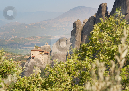 Meteora travel stock photo, View of the meteora monasteries monuments travel destination in greece by Ivan Montero
