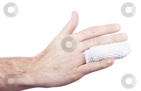 Injured hand medical stock photo, Injured and wrapped finger adn hand isolated on withe background by Ivan Montero