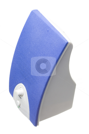 Blue speaker stock photo, Detail of a blue bass speaker with power and volume controls by Ivan Montero