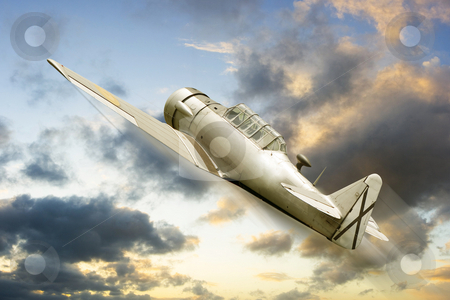 War propeller fighter plane stock photo, Vintage historic old war aircraft in a background by Ivan Montero
