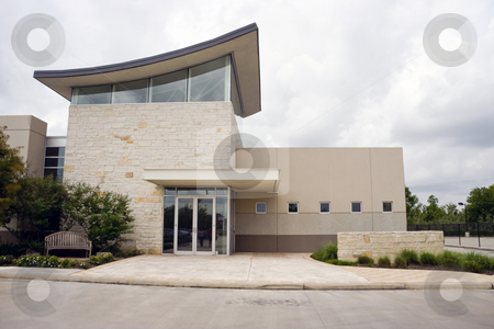 Office Exterior stock photo, A small modern office building exterior entrance by Kevin Tietz