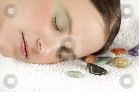 Beautiful face stock photo, Young woman has a rest in spa by Tom P.