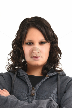 Young teenage girl stock photo, Young teenage girl with cloudy and smileless face by Tom P.