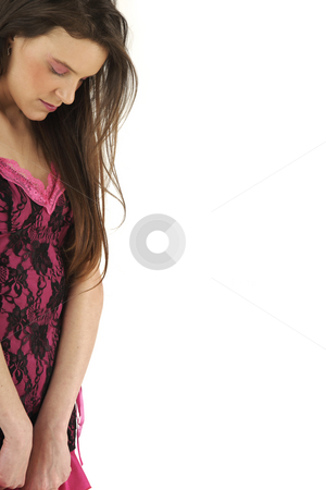 Young woman stock photo, Young woman isolated on white background with copy space by Tom P.