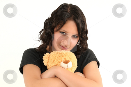 Teen girl  stock photo, Young, cute teenage girl with teddy by Tom P.