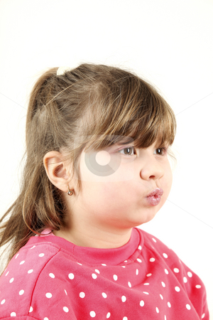 Kiss stock photo, Six years old girl sends kiss isolated on white background by Tom P.
