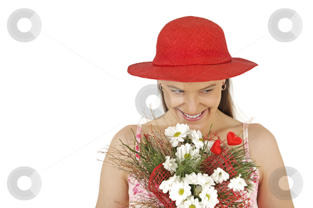 It's Valentine's Day ! stock photo, Young girl holds flowers isolated in white background by Tom P.
