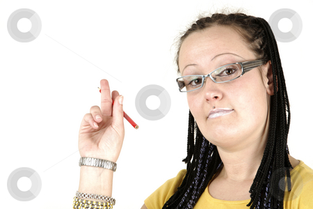 Think stock photo, Young businesswoman shows on white background by Tom P.