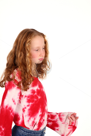 Little girl stock photo, Young girl has a boring moment while stops the music by Tom P.