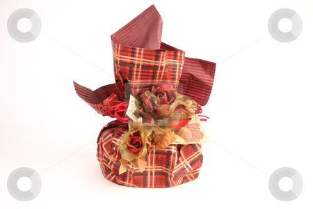 Christmas present stock photo, Red christmas present in unusual decoration by Tom P.