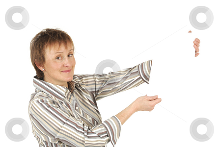 Manageress stock photo, Lady holds empty paper on white background by Tom P.
