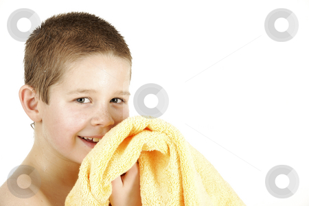 Little boy with towel stock photo, Boy with yellow towel after taking bath by Tom P.