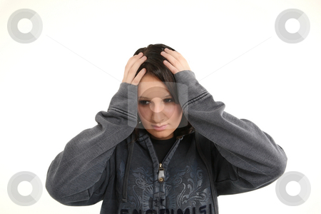 Girl is worry stock photo, Teenage young girl is worry about... by Tom P.