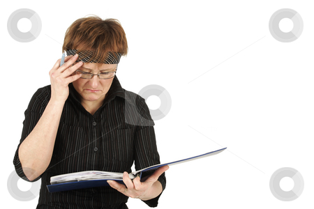 Report stock photo, Lady in office reads some messages by Tom P.