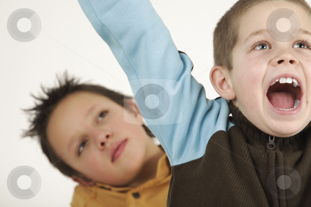 Happy little young boys stock photo, Two schoolboys in their freetime by Tom P.