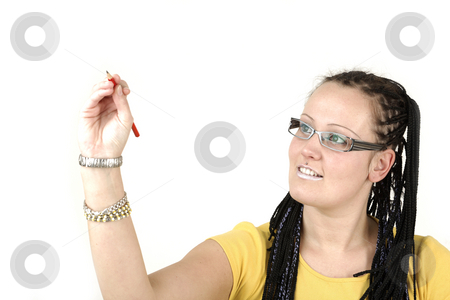 Writting stock photo, Young businesswoman is writting something by Tom P.