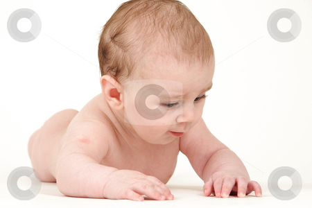 Small kid lying stock photo, Small kid lying on white background by Tom P.