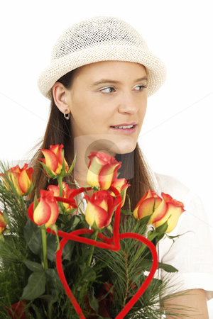 Flower stock photo, Woman keeps flowers and smiles by Tom P.