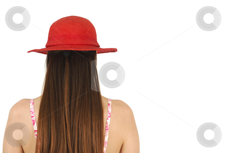 Red Hat stock photo, Brunette in red hat rear view isolated with copy space by Tom P.