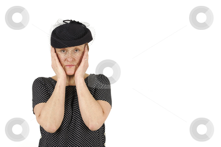 Sad Woman stock photo, Elderly woman is unhappy by Tom P.