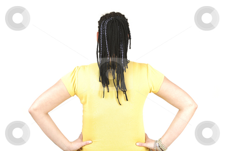 Place on back stock photo, Yellow place for text on young woman by Tom P.