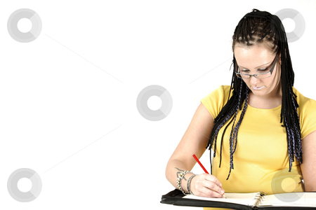 Writting planes stock photo, Manageress with braids and tattoos by Tom P.