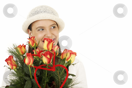 Woman with flower stock photo, Valentine's gift and young woman by Tom P.