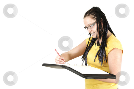 Processing timetable stock photo, Secretary with braids is processing timetable by Tom P.