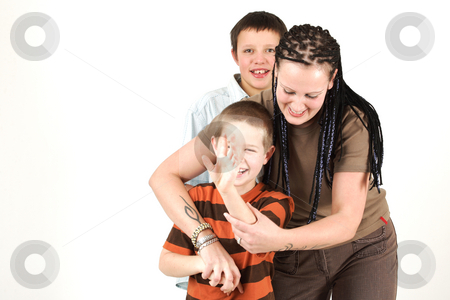 Three teenagers  stock photo, Three teenagers have a fun in the afternoon by Tom P.
