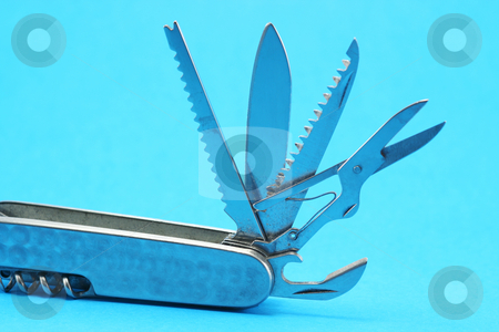 Open Pocket Multi Tool stock photo, All the tools on one end of a pocket multi tool opened out - pocket fluff included free of charge!! by Helen Shorey
