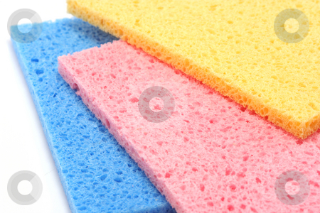 Multicolour Sponges stock photo, Three brightly coloured kitchen sponges by Helen Shorey